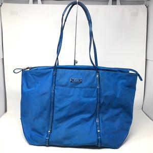 TUMI Voyager Q Tote Blue Shoulder Travel Bag Nylon